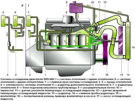 система охлаждения змз 406