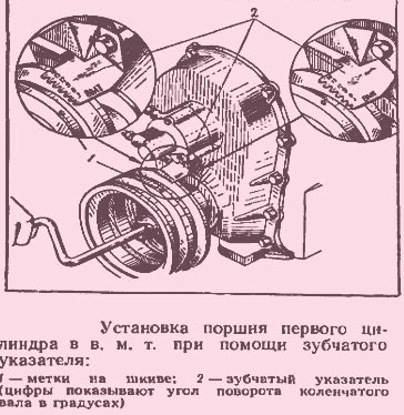 установка поршня первого цилиндра