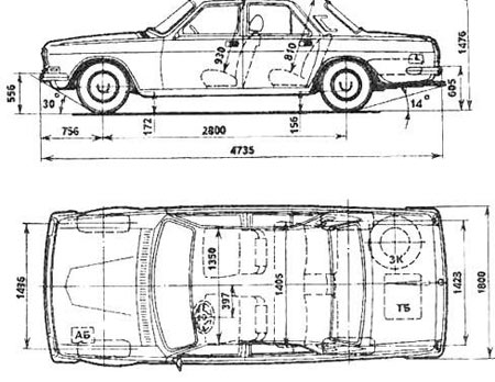 размеры ГАЗ 24
