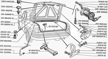 схема крышки багажника